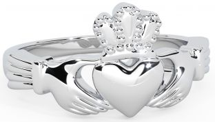 Mens 14K White Gold Silver Claddagh Ring