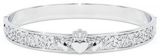 "14K White Gold coated Solid Silver ""Claddagh"" Celtic Knot Bracelet"