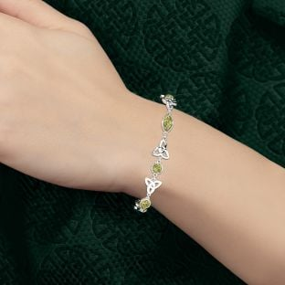 "Silver ""Irish Amber"" Celtic Bracelet"