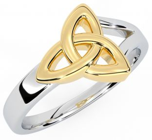 Ladies 14K White & Yellow Gold Celtic Knot Ring
