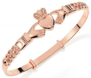 14K Rose Gold coated Silver Claddagh Celtic Knot Bracelet