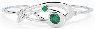 "Silver Irish Emerald ""Celtic Knot"" Bangle Bracelet"