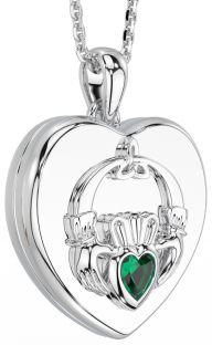 "Silver Emerald ""Claddagh"" Heart Locket Pendant Necklace"