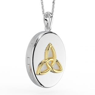 14K Gold Silver Celtic Knot Locket Pendant Necklace