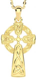 "14k Yellow Gold Solid Silver Irish ""Celtic Cross"""
