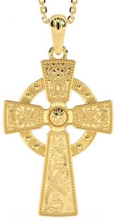 "14K Yellow Gold Solid Silver ""Warrior"" Irish Celtic Cross Pendant"