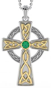 Emerald 14K Gold Silver Celtic Cross Pendant
