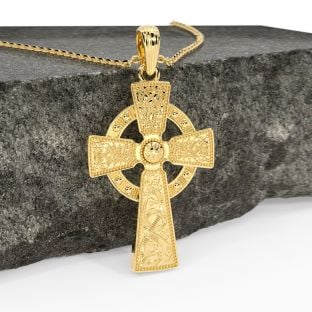 "14K Yellow Gold Solid Silver ""Warrior"" Irish Celtic Cross Pendant Necklace"