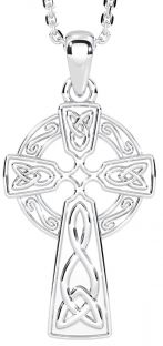 "14k White Gold Solid Silver Irish ""Celtic Cross"" Pendant"