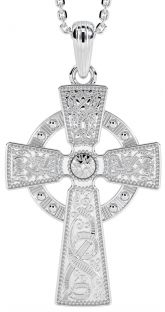 "14K White Gold Solid Silver ""Warrior"" Celtic Cross Pendant"