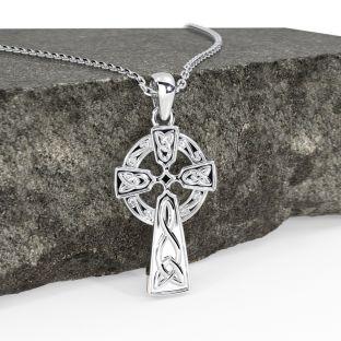 "14k White Gold Solid Silver Irish ""Celtic Cross"" Pendant Necklace"