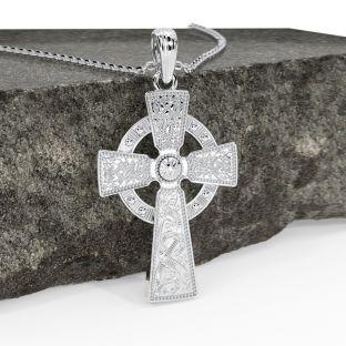 "Silver ""Warrior"" Celtic Cross Pendant Necklace"