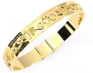 """14K Gold coated Silver Celtic """"Claddagh"""" Bangle Bracelet"""