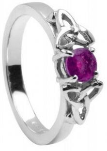 10K/14K18K White Gold Genuine Pink Sapphire Engagement Ring