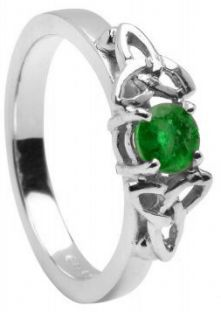 Emerald 10K/14K18K White Gold Celtic Engagement Ring