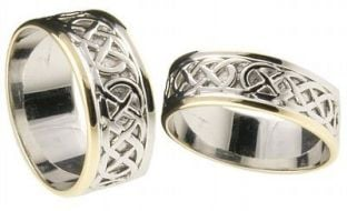 "10K/14K/18K White & Yellow Gold Celtic ""Eternity Knot"" Wedding Band Ring Set"