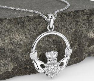 Diamond Silver Claddagh Pendant Necklace - April Birthstone