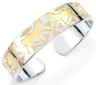 "14K Two Tone Gold Solid Silver Irish ""Celtic Horse"" Bangle Bracelet"