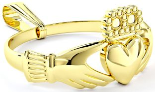 Gold coated Silver Claddagh Ring Pendant Necklace