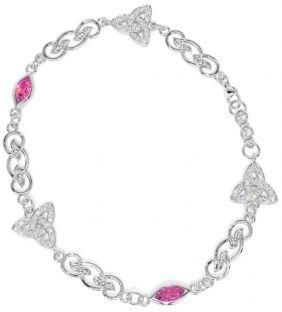Silver Diamond Celtic Knot Bracelet
