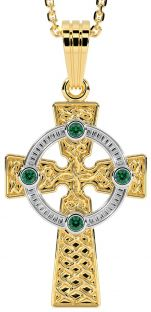 "14k Two Tone Gold Solid Silver Emerald ""Celtic Cross"" Pendant Necklace"