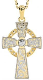 "14K Yellow & White Gold coated Silver ""Warrior"" Irish Celtic Cross Pendant Necklace"