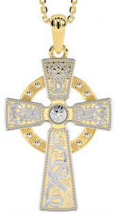 "Extra Large Mens 14K Yellow & White Gold Solid Silver Silver ""Warrior"" Irish Celtic Cross Pendant Necklace"