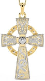 """Extra Large Mens 14K Yellow & White Gold Solid Silver Silver """"Warrior"""" Irish Celtic Cross Pendant Necklace"""