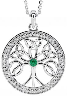 """""""Tree of Life"""" White Gold Emerald .1cts Celtic Pendant Necklace"""