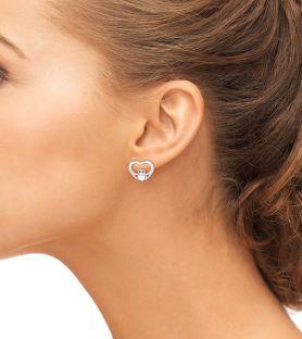 Silver Diamond Irish Claddagh Stud Earrings