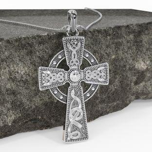 "Extra Large Mens Black Rhodium Silver ""Warrior"" Irish Celtic Cross Pendant Necklace"