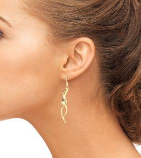 14K Yellow Gold Solid Silver Celtic Dangle Earrings