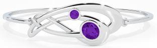 Silver Amethyst Celtic Bangle Bracelet