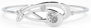 Silver Diamond Celtic Bangle Bracelet
