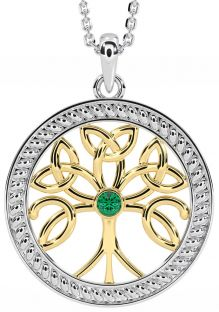 """""""Tree of Life"""" White & Yellow Gold over Silver Emerald Celtic Pendant Necklace"""