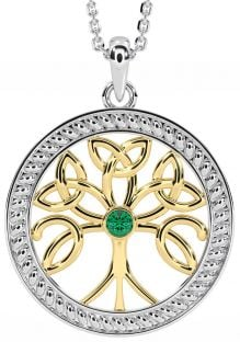 """""""Tree of Life"""" White & Yellow Gold Emerald .1cts Celtic Pendant Necklace"""