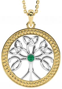"""""""Tree of Life"""" Yellow & White Gold over Silver Emerald Celtic Pendant Necklace"""