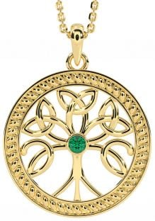 """""""Tree of Life"""" Gold over Silver Emerald Celtic Pendant Necklace"""