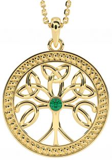 """""""Tree of Life"""" Gold Emerald .1cts Celtic Pendant Necklace"""