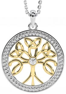 """""""Tree of Life"""" White & Yellow Gold over Silver Diamond Celtic Pendant Necklace"""