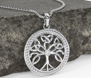 """Tree of Life"" Silver Diamond Celtic Pendant Necklace"
