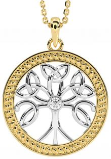 """""""Tree of Life"""" Yellow & White Gold over Silver Diamond Celtic Pendant Necklace"""