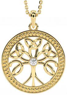 """Tree of Life"" Gold Diamond .1cts Celtic Pendant Necklace"