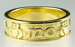 """Mens 14K Yellow Gold Silver """"My Soul Mate"""" Celtic Claddagh Band Ring"""