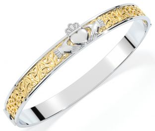 """14K Yellow & White Gold coated Solid Silver """"Claddagh"""" Celtic Knot Bracelet"""