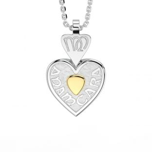 """14K Two Tone Gold Solid Silver Irish """"Anam Cara"""" Celtic Heart Pendant Necklace"""