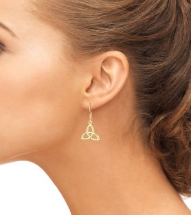 """14K Yellow Gold Solid Silver Celtic """"Trinity Knot"""" Dangle Earrings"""