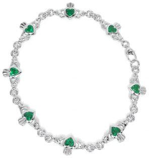"""Silver Irish """"Claddagh"""" Emerald Bracelet"""