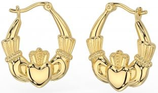 "14K Yellow Gold Solid Silver Irish ""Claddagh"" Hoop Earrings"