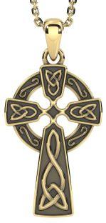 "14k Yellow Gold Solid Silver Irish ""Celtic Cross"""